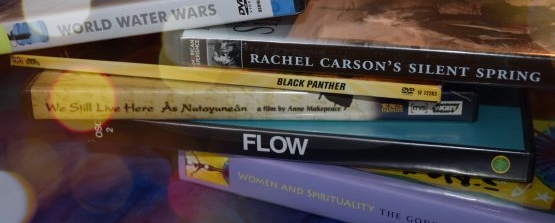 Banner image of a short pile of DVD covers of social justice and environmental documentary videos