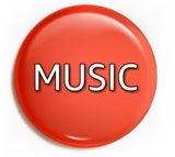 "red round button with ""Music"" text in gradated white lettering"