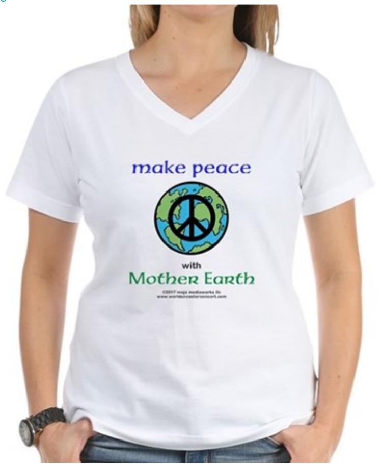 Make Peace with Mother Earth design women's v-neck white t-shirt