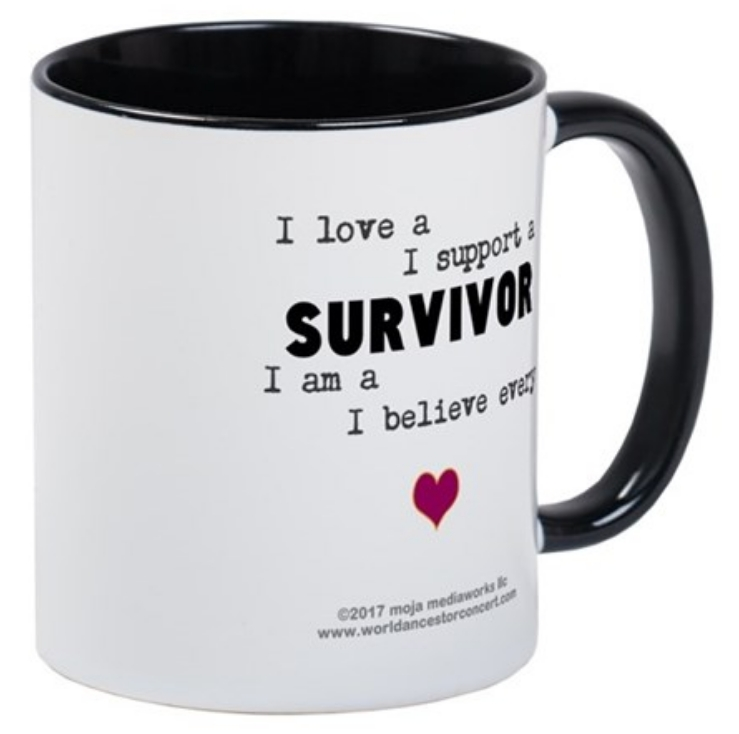 Survivor2 advocacy design on coffee/tea mug