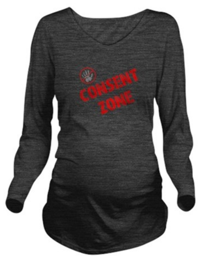Consent Zone design on dark grey maternity shirt