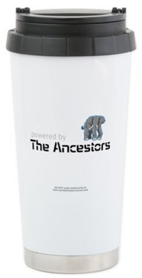 Powered by the Ancestors Elephant design travel mug