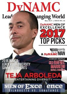 "Portrait of Teja Arboleda superimposed on DyNAMC organizational magazine cover with title, text, in part, reading ""Men of Excellence"""