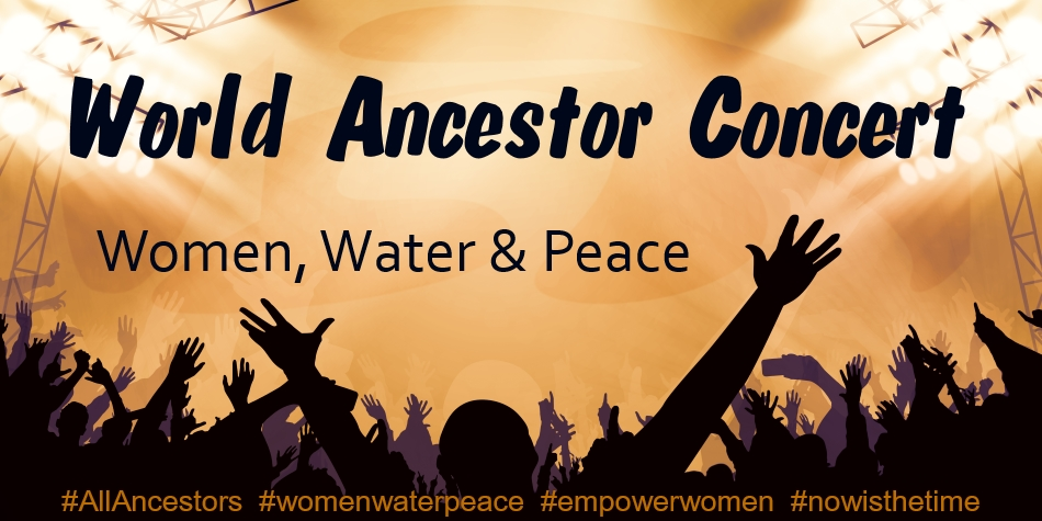 graphic of World Ancestor Concert promo banner image of concert with raised hands of concert-goers over warm, orange background of concert light, hashtags at bottom of image