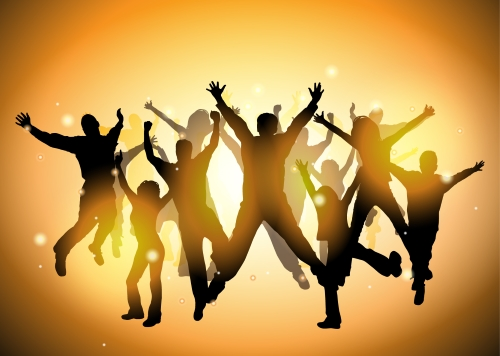 graphic image of numerous silhouettes of people jumping for joy against a gradated, glowy orange background