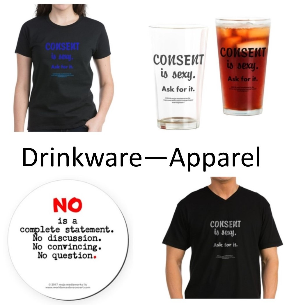 "Composite image of 4 Bar-Restaurant Online Store section products with text saying ""Drinkware - Apparel"""